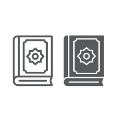 Quran line and glyph icon islam and book koran vector