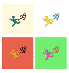Rhythmic gymnastics with ribbon design set vector