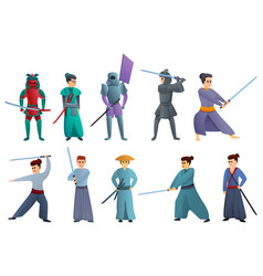 Samurai icons set cartoon style vector