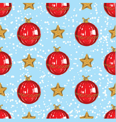 seamless pattern christmas stars and red bauble vector image