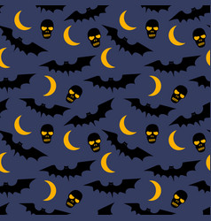 seamless pattern with bats moons skulls and trees vector image