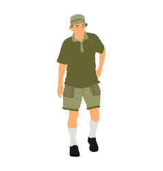 senior tourist walking in summer clothes old man vector image