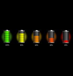 Set battery charge indicators vector