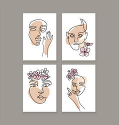 set woman s face continuous one line art a3 vector image