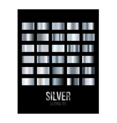 Silver gradient texture swatch set isolated on vector