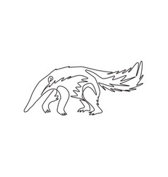 Single continuous line drawing large anteater vector