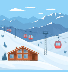 ski resort with red ski cabin lift on cableway vector image