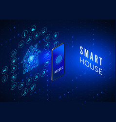 smart house concept mobile phone monitoring vector image