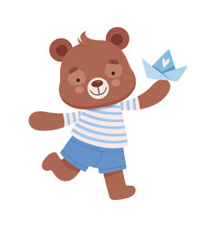 Smiling bear character wearing stripped vest vector