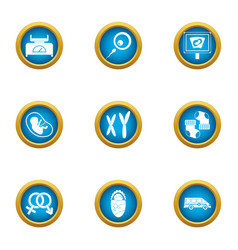 Somatic cell icons set flat style vector