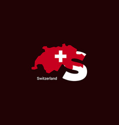 Switzerland initial letter country with map and vector