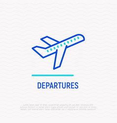 Take-off plane line icon sign departures area vector