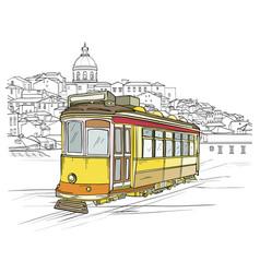 traditional portuguese tram lisbon cityscape vector image