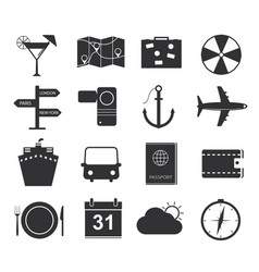 travel icons set of black icons tourism vector image vector image