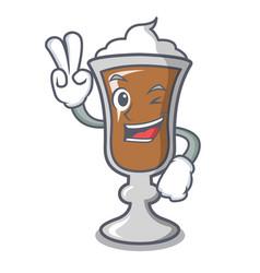 two finger irish coffee character cartoon vector image