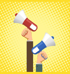 two people are holding megaphones vector image