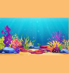underwater world sea bottom algae and coral reef vector image