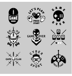 Video games vintage emblem set retro style vector