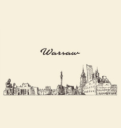 warsaw skyline poland hand drawn sketch vector image