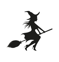 Witch on a broomstick black silhouette vector