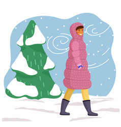 young girl in pink long down jacket hood blue vector image