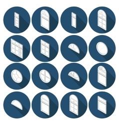 isometric set of flat icons window vector image vector image