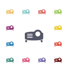 projector flat icons set vector image