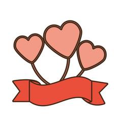 balloons heart romance love ribbon vector image vector image