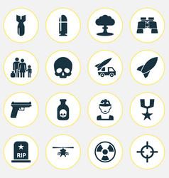 battle icons set collection of dangerous cranium vector image vector image