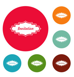 invitation label icons circle set vector image vector image