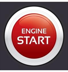 Start engine button Red round sticker vector image vector image