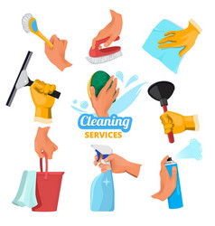womens hands with different tools for cleaning vector image vector image
