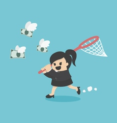 business woman trying to catch money vector image vector image