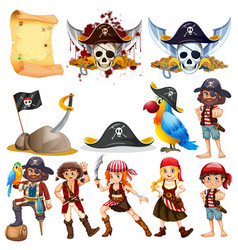 different pirate characters and pirate symbols vector image