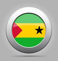 flag of sao tome and principe metal round button vector image vector image