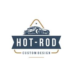 hot rod car logo template design element vector image