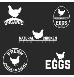 Set chicken and eggs logo emblem Natural fresh vector image vector image