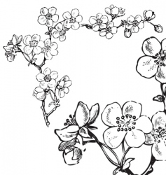 antique flowers corner engraving vector image vector image