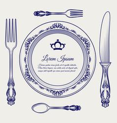 cutlery vintage set ball pen sketch vector image