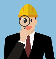 Engineer looking through a magnifying glass vector image