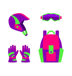 flat style skiing snowboarding apparel gear vector image