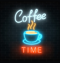 neon coffee time glowing sign on a brick vector image
