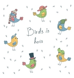 set of 6 fanny birds in different hats vector image