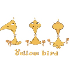 A set of yellow birdies cartoon vector