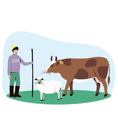 A shepherd leads a cow and a sheep to pasture vector