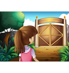 A young girl with pink shirt going to the gate vector