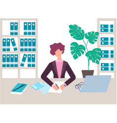 Accountant auditor at work in office vector