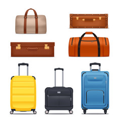 Baggage colored set vector