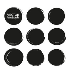 Black abstract circles set from thick black vector
