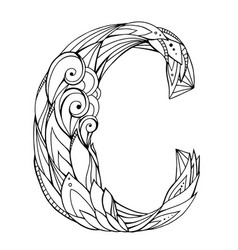 black and white freehand drawing capital letter c vector image